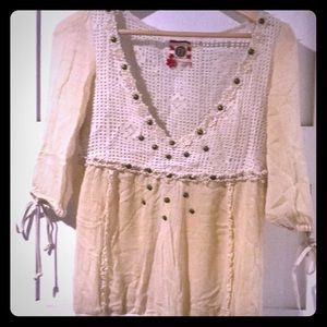 Free People cream Top with ties